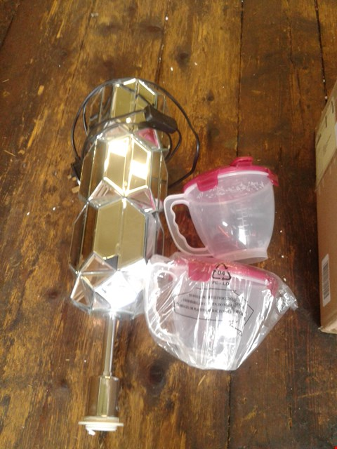 Lot 78 A MIRRORED LIGHT AND A PAIR OF MEASURING JUGS