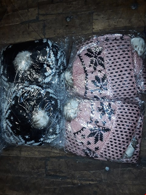 Lot 1134 BOX OF APPROXIMATELY 70 ASSORTED BRAND NEW KNITTED HATS IN BLACK/WHITE & PINK/BLACK