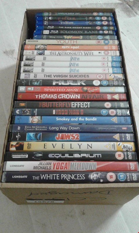 Lot 15678 A BOX OF APPROXIMATELY 25 DVDS TO INCLUDE A JAWS 2 FILM AND ALFIE DVD