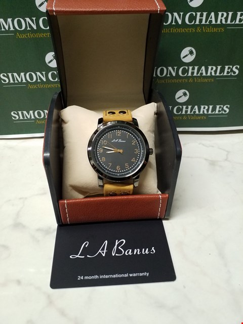 Lot 4558 L. A BANUS STAINLESS STEEL WATCH WITH BROWN SUEDE WRIST STRAP