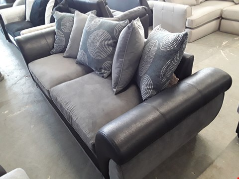 Lot 28 DESIGNER BLACK FAUX LEATHER AND GREY FABRIC 3 SEATER SOFA WITH SCATTER BACK CUSHIONS
