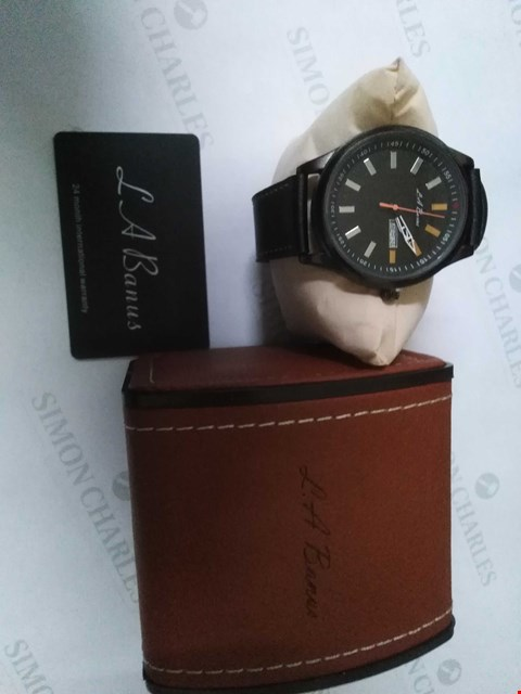 Lot 79 BRAND NEW BOXED L.A BANUS BLACK STRAP WRIST WATCH