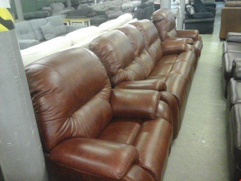 Lot 13 QUALITY BRITISH MADE HARDWOOD FRAMED CHESTNUT LEATHER 3 SEATER SOFA AND 2 X CHESTNUT LEATHER ARMCHAIRS