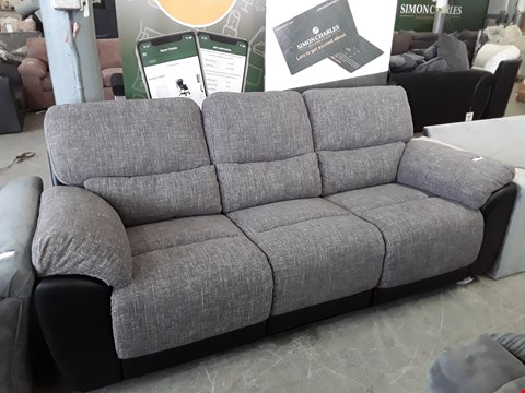 Lot 6 DESIGNER GREY FABRIC AND BLACK FAUX LEATHER MANUAL RECLINING 3 SEATER SOFA