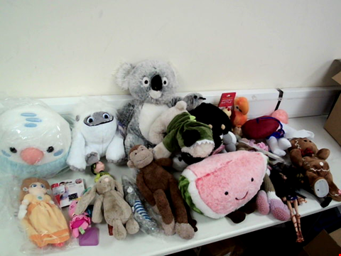 Lot 8039 BOX OF APPROXIMATELY 15 CUDDLY TOYS TO INCLUDE ABOMINABLE SNOW MAN, GREY/WHITE KOALA AND SMILING WATERMELON SLICE