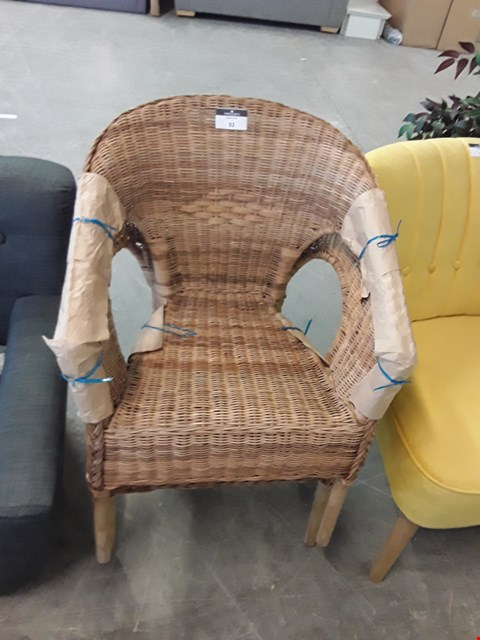 Lot 92 DESIGNER RATTAN EFFECT PAIR OF GARDEN CHAIRS