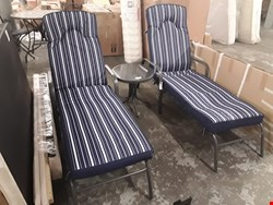 Lot 93 DESIGNER PATIO SET, COMPRISING PAIR ADJUSTABLE SUNLOUNGERS WITH BLUE STRIPED CUSHIONS & CIRCULAR GLASS TOP SIDE TABLE