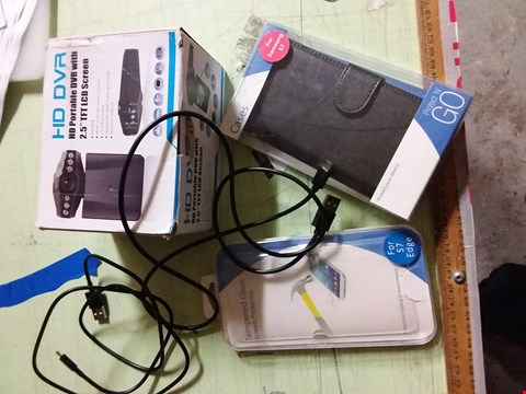 Lot 11531 A BOX OF APPROXIMATELY 40 ASSORTED TECH ITEMS TO INCLUDE, PHONE CASES, HD PORTABLE DVR AND CHARGING CABLES ETC