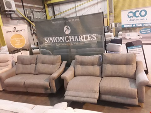 Lot 9010 QUALITY BRITISH MADE HARDWOOD FRAMED GREY FABRIC PAIR OF POWER RECLINING TWO SEATER SOFAS