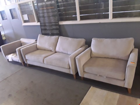 Lot 128 QUALITY DESIGNER THREE PIECE GREY FABRIC SUITE CONSISTING OF A THREE SEATER SOFA AND TWO ARMCHAIRS