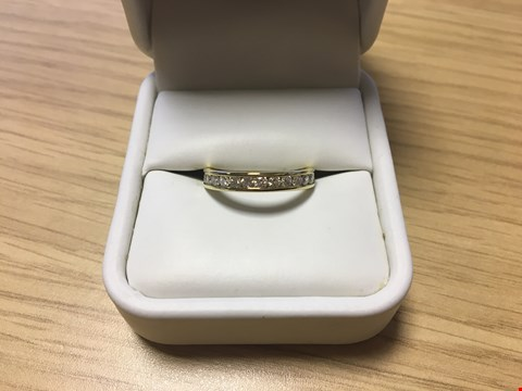Lot 18 9CT YELLOW GOLD CHANNEL SET WEDDING BAND SET WITH DIAMONDS WEIGHING +/-0.51CT