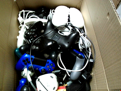 Lot 15668 BOX OF ASSORTED GAMES CONTROLLERS AND CABLES ETC