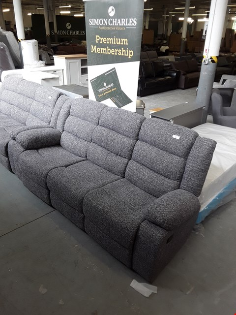 Lot 90 DESIGNER GREY FABRIC MANUAL RECLINER THREE SEATER SOFA