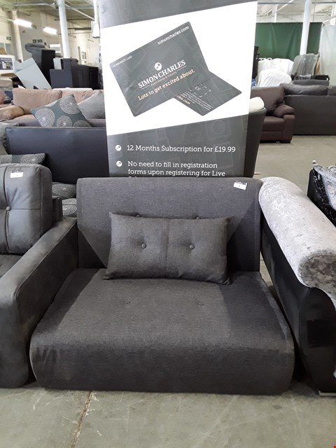Lot 3 DESIGNER GREY FABRIC 100CM CLICK-CLACK SOFABED