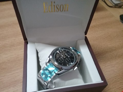 Lot 10174 BRAND NEW BOXED MEN'S EDISON AUTOMATIC MOONPHASE WATCH WITH STAINLESS STEEL SILVER COLOURED STRAP  RRP £600.00