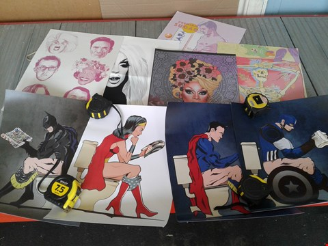 Lot 33 NINE ASSORTED POSTERS, INCLUDING RUPAUL AND SUPERHEROES ON THE TOILET