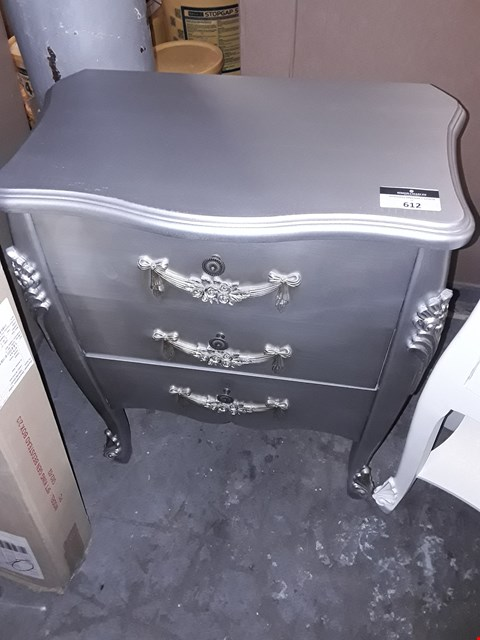 Lot 612 FRENCH STYLE 3 DRAWER DRESSER- SILVER