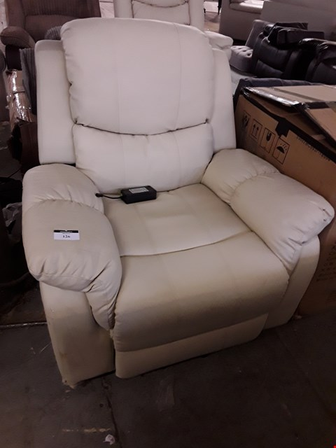 Lot 2003 DESIGNER CREAM LEATHER POWER RECLINING EASY CHAIR