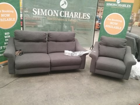 Lot 32 QUALITY BRITISH MADE HARDWOOD FRAMED GREY FABRIC RECLINING 3 SEATER SOFA AND RECLINING ARM CHAIR