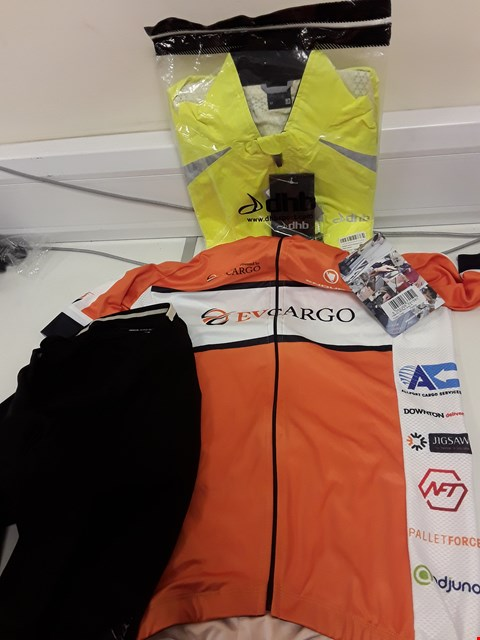 Lot 104 THREE ITEMS OF CYCLING CLOTHING, DHB LADIES FLOURESCENT YELLOW WATERPROOF JACKET SIZE 12, ENDURA PRO ROAD JERSEY SIZE M & PAIR BLACK RAPHA SHORTS SIZE S