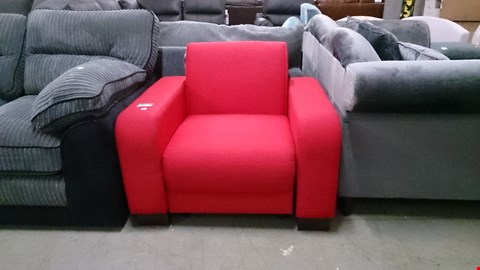 Lot 1215 DESIGNER RED FABRIC ARM CHAIR