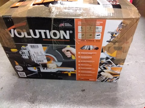 Lot 8288 EVOLUTION 210MM TCT MULTIPURPOSE SLIDING MITRE SAW & BLADE