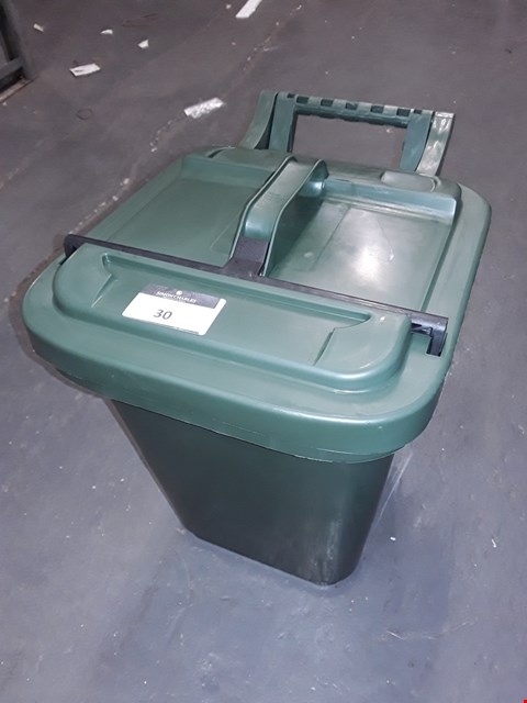 Lot 30 GREEN RECYCLING BIN WITH LOCKABLE TOP