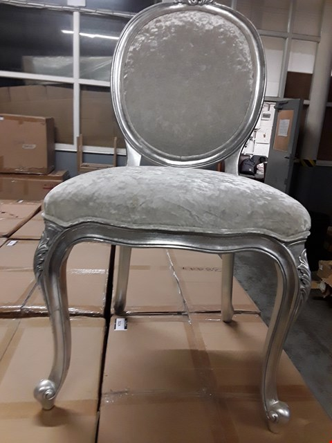 Lot 3030 CONTEMPORARY DESIGNER ANTIQUE FINISH, SCRIVA HEATHER FABRIC DINING CHAIR RRP £460.00