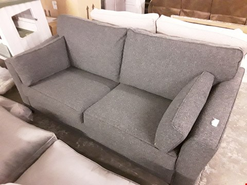 Lot 153 DARK GREY FABRIC 3-SEATER SOFA WITH BOLSTER CUSHIONS