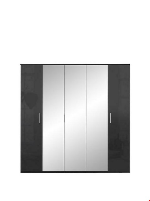 Lot 1058 BRAND NEW BOXED WESTBURY 5-DOOR BLACK GLOSS WARDROBE (6 BOXES)  RRP £449.00