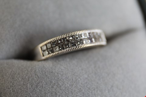 Lot 22 18ct WHITE GOLD WEDDING BAND, SET WITH DOUBLE ROW OF DIAMONDS WEIGHING +/-0.50ct RRP £2600