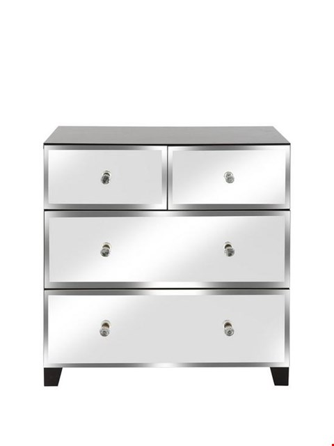 Lot 11075 BOXED BELLAGIO WHITE/MIRROR 2+2 DRAWER CHEST (1 BOX) RRP £199.99