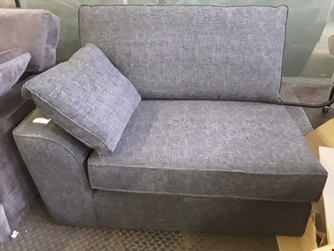 Lot 90 QUALITY DESIGNER BRITISH MADE STAMFORD CHARCOAL FABRIC TWO SEATER SECTION WITH BOLSTER CUSHION