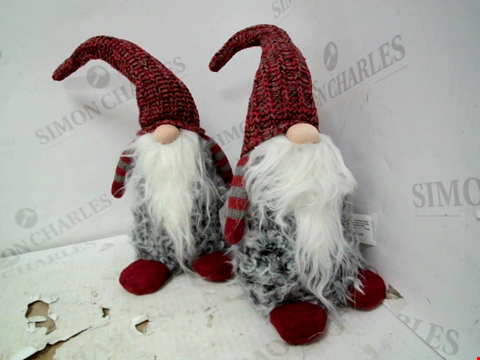Lot 13045 SET OF 2 GREY/RED PLUSH GONK CHRISTMAS DECORATIONS