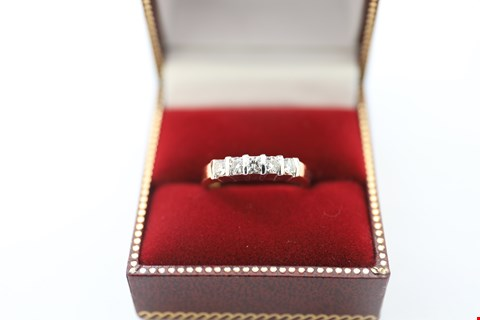 Lot 24 18CT GOLD HALF ETERNITY RING SET WITH DIAMONDS WEIGHING +-0.43CT