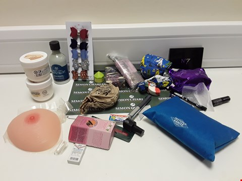 Lot 336 BOX OF ASSORTED ITEMS TO INCLUDE: PEPPERMINT FOOT LOTION, BODY SHOP VEGAN BODY YOGURT,