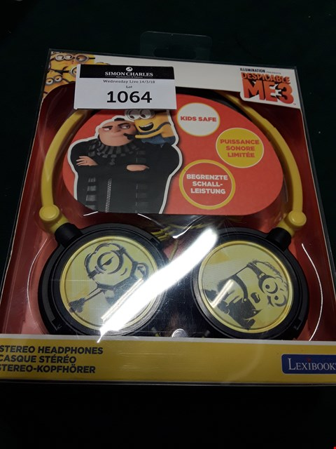 Lot 1064 LEXIBOOK DESPICABLE ME STEREO HEADPHONES RRP £26