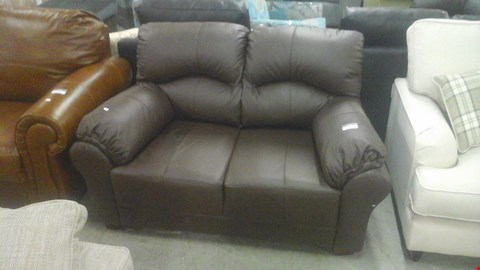 Lot 1240 DESIGNER BROWN LEATHER 2 SEATER SOFA