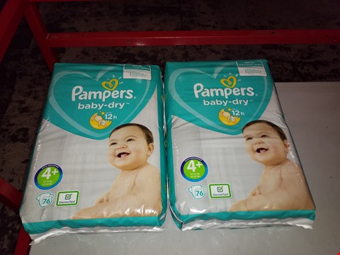 Lot 14003 BOX OF APPROXIMATELY 152 PAMPERS BABY DRY 4+ EXTRA ABSORPTION NAPPYS