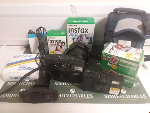 Lot 1090 BOX OF APPROXIMATELY 10 ASSORTED ITEMS TO INCLUDE INSTAX FILM, 35MM CAMERA ETC