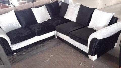 Lot 6 DESIGNER BLACK & SILVER CRUSHED VELVET CORNER SOFA