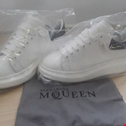 Lot 6109 PAIR BOXED DESIGNER ALEXANDER MCQUEEN WHITELACED TRAINERS SIZE 42