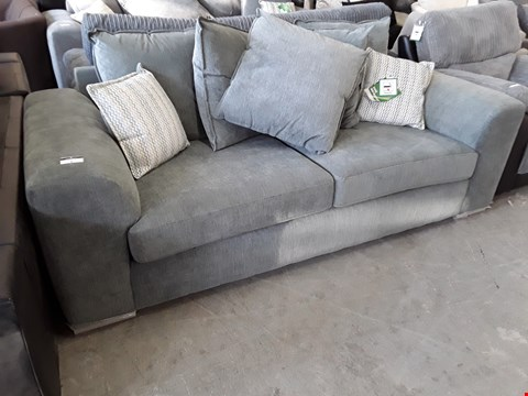 Lot 4 DESIGNER GREY FABRIC THREE SEATER SIFA WITH SCATTER CUSHIONS