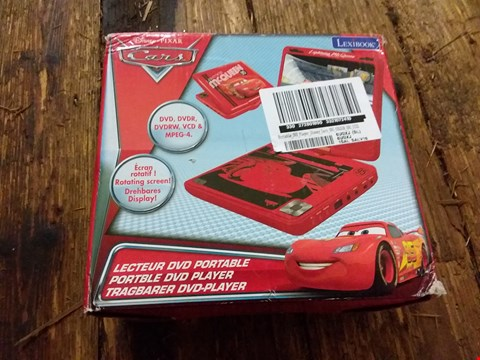 Lot 2059 BOXED GRADE 1 DISNEY CARS PORTABLE DVD PLAYER  RRP £99.99