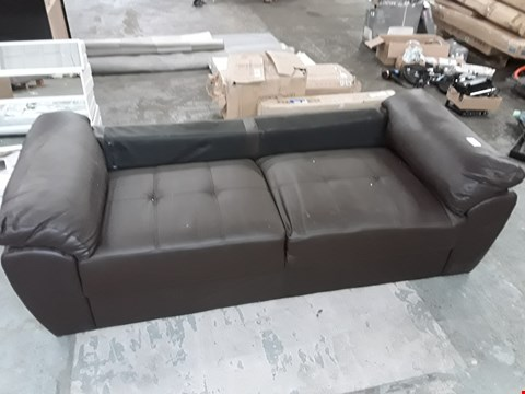 Lot 828 BROWN FAUX LEATHER 2-SEATER SOFA