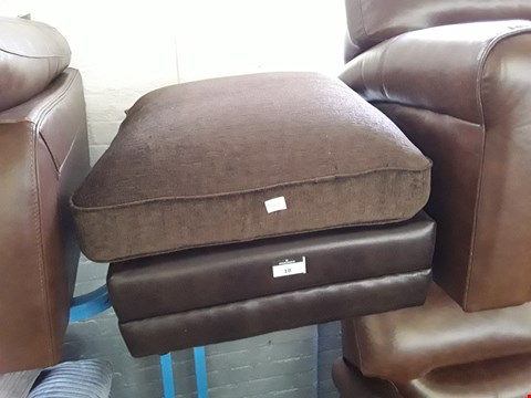 Lot 18 DESIGNER BROWN FAUX LEATHER & FABRIC SQUARE FOOTSTOOL