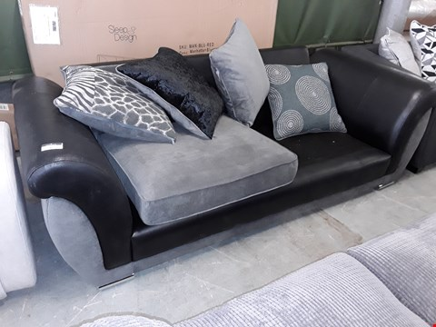 Lot 6 DESIGNE5 BLACK FAUX LEATHER & GREY FABRIC THREE SEATER SOFA WITH SCATTER CUSHIONS