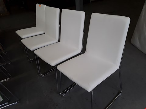 Lot 194 SET OF FOUR WHITE LEATHER SINGLE DINING CHAIRS ON CHROME SUPPORTS