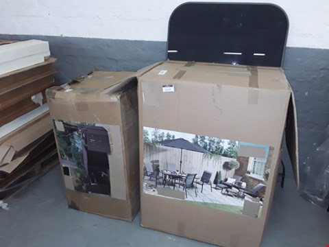 Lot 11177 LOT OF 3 ASSORTED GARDEN FURNITURE ITEMS TO INCLUDE BOX OF GREY GARDEN CHAIRS, RATTAN SET PARTS AND GARDEN TABLE TOP