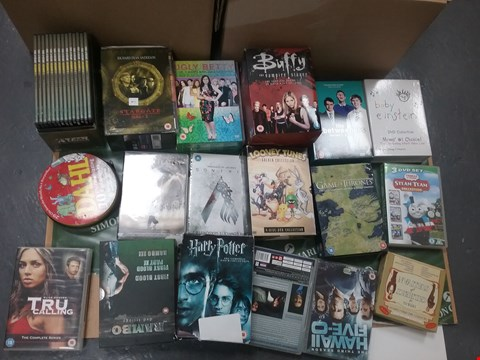 Lot 12071 A BOX OF APPROXIMATLEY 18 ASSORTED DVD/BOXSETS TO INCLUDE A BUFFY THE VAMPIRE SLAYER BOXSET AND A LOONEY TUNES COLLECTION